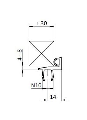 Ajtó tömítő profil B10 45 / 30