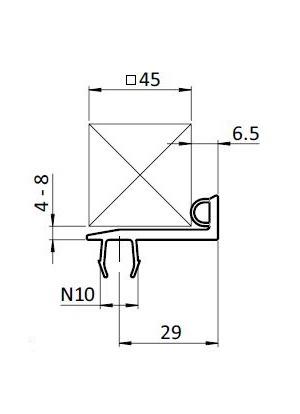 Ajtó tömítő profil B10 45 / 45