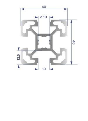 Alumínium Profil B10 40x40 L