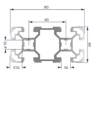 Alumínium Profil B10 40x80 L