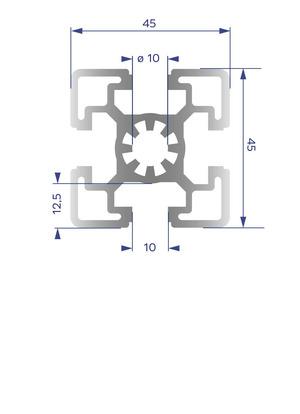 Alumínium Profil B10 45x45 H