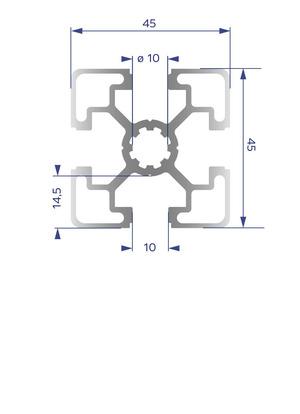 Alumínium Profil B10 45x45 L