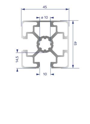 Alumínium Profil B10 45x45 L 2N 90°