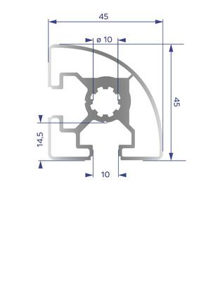 Alumínium Profil B10 45x45 R
