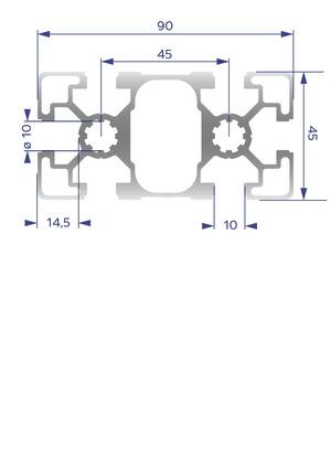 Alumínium Profil B10 45x90L