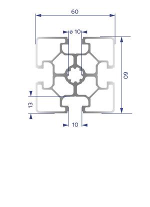 Alumínium Profil B10 60x60L