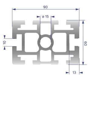 Alumínium Profil B10 60x90H