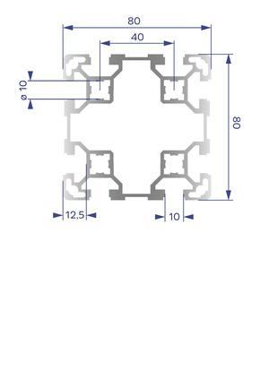 Alumínium Profil B10 80x80 L