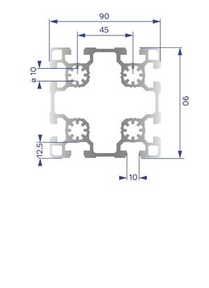 Alumínium Profil B10 90x90 L