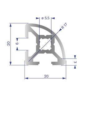 Alumínium Profil B6 20x20 R