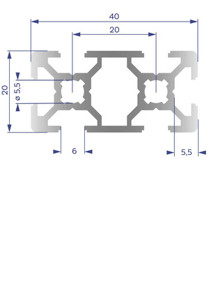 Alumínium Profil B6 20x40