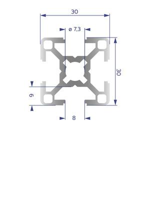 Alumínium Profil B8 30x30
