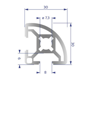 Alumínium Profil B8 30x30 R