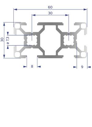 Alumínium Profil B8 30x60