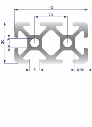 Alumínium Profil I5 20x40