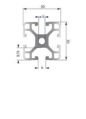 Alumínium Profil I6 30x30 L