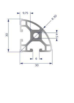 Alumínium Profil I6 30x30 L R