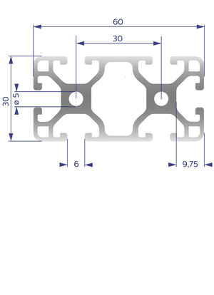 Alumínium Profil I6 30x60 L