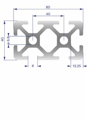 Alumínium Profil I8 40x80