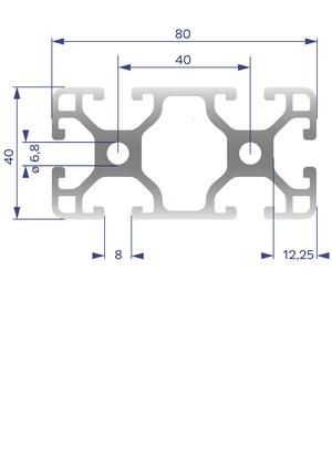 Alumínium Profil I8 40x80 L