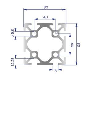 Alumínium Profil I8 80x80
