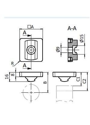 Csatlakozó adapter horony-40x40 profilhoz