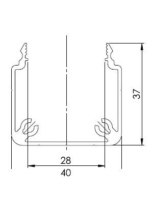 Csatorna profil 40x40 U (3m/sz)