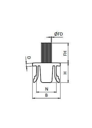 Fésű profil horonyba I8 / B8 H40 (1m)