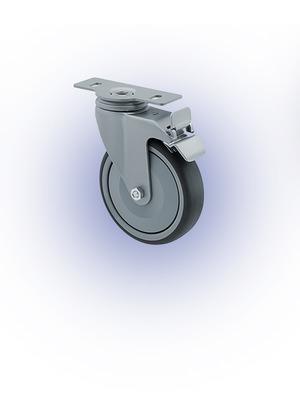 Görgő Önbeálló, fékes, felfogató lemezes, TPE, D125 (120kg)