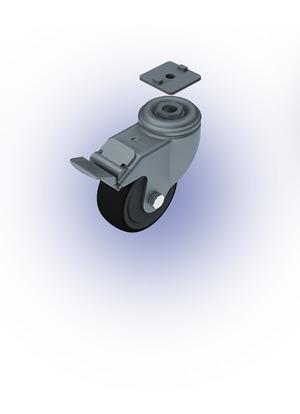 Görgő Önbeálló, fékes, TPE, D80, ESD (100kg)