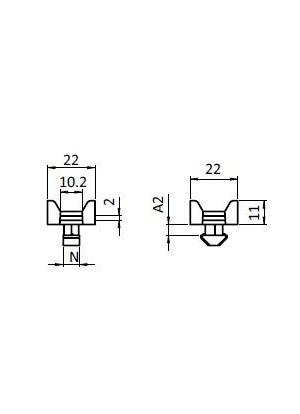 Kábel rögzítő, kereszt, befordítós I8